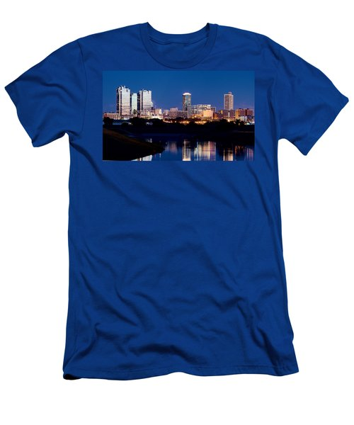 Fort Worth Skyline At Night Poster Men's T-Shirt (Athletic Fit)
