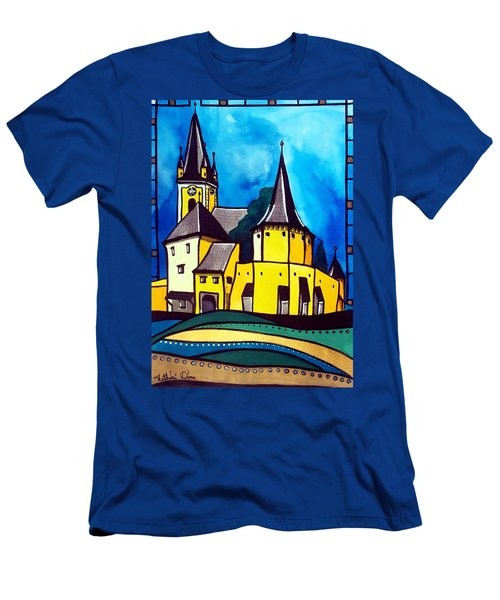 Fortified Medieval Church In Transylvania By Dora Hathazi Mendes Men's T-Shirt (Slim Fit) by Dora Hathazi Mendes