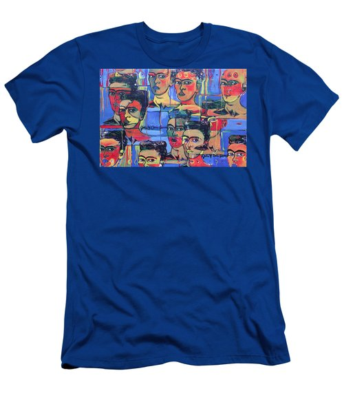 Frida Blue And Orange Men's T-Shirt (Athletic Fit)