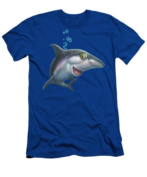 friendly Shark Cartoony cartoon under sea ocean underwater scene art print blue grey  Men's T-Shirt (Athletic Fit)