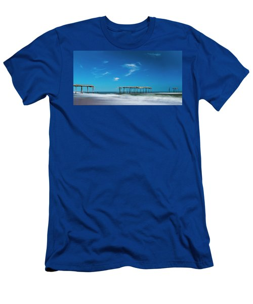Men's T-Shirt (Athletic Fit) featuring the photograph Frisco Fishing Pier In North Carolina Panorama by Ranjay Mitra