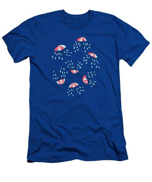Fun Raining Umbrella Pattern Men's T-Shirt (Athletic Fit)