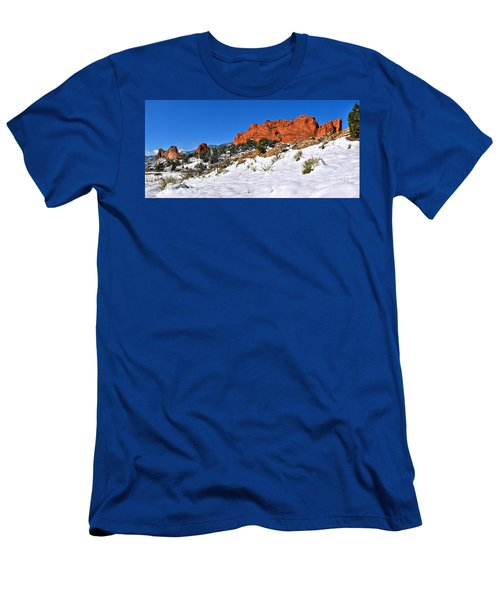Men's T-Shirt (Slim Fit) featuring the photograph Garden Of The Gods Red And White by Adam Jewell