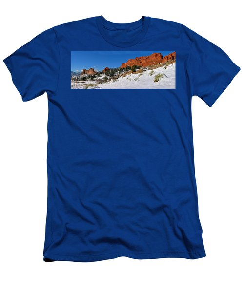 Men's T-Shirt (Slim Fit) featuring the photograph Garden Of The Gods Snowy Blue Sky Panorama by Adam Jewell