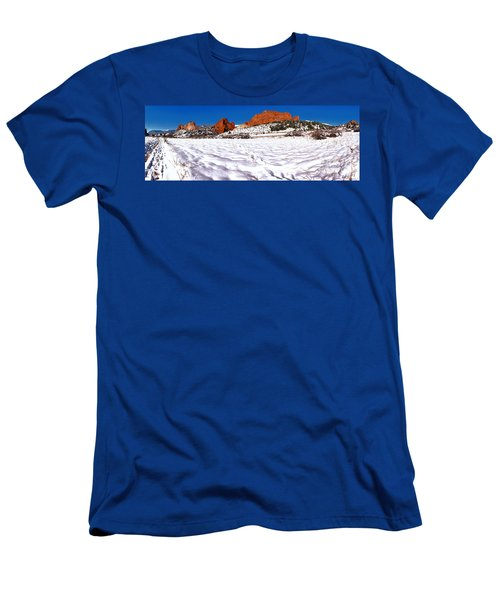 Men's T-Shirt (Slim Fit) featuring the photograph Garden Of The Gods Snowy Morning Panorama by Adam Jewell
