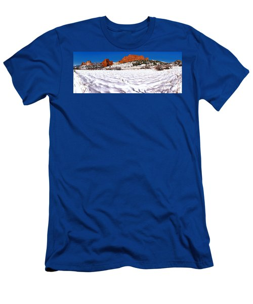 Men's T-Shirt (Slim Fit) featuring the photograph Garden Of The Gods Snowy Morning Panorama Crop by Adam Jewell