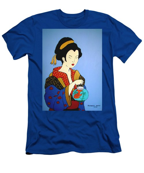 Men's T-Shirt (Slim Fit) featuring the painting Geisha With Fish by Stephanie Moore