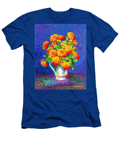 Men's T-Shirt (Slim Fit) featuring the painting Gift Of Gold, Orange Flowers by Jane Small