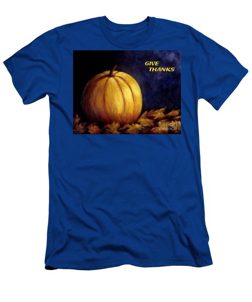 Give Thanks Autumn Painting Men's T-Shirt (Slim Fit) by Annie Zeno
