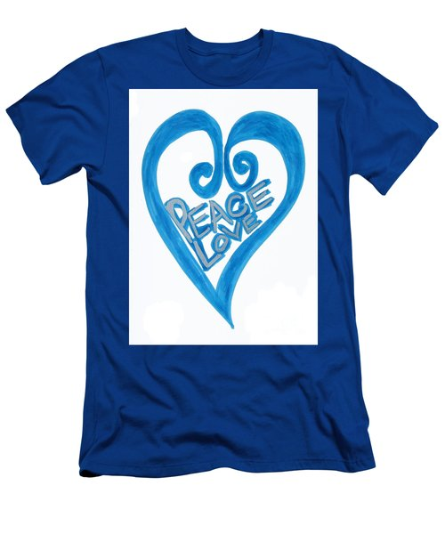 Global Peace And Love Heart Men's T-Shirt (Athletic Fit)