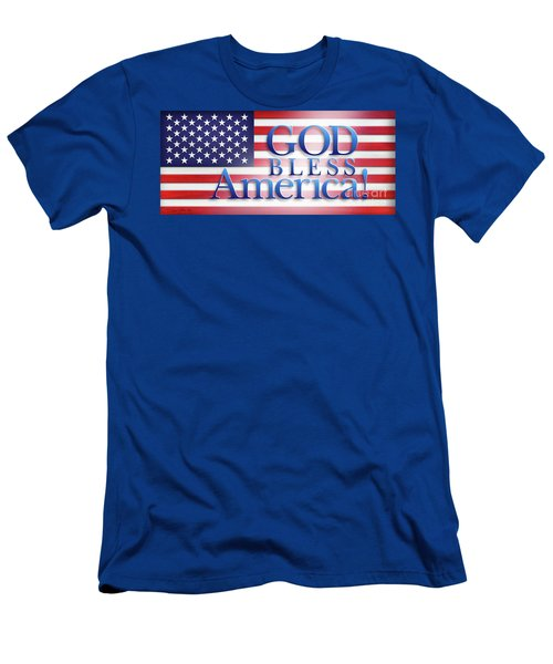 Men's T-Shirt (Slim Fit) featuring the mixed media God Bless America by Shevon Johnson