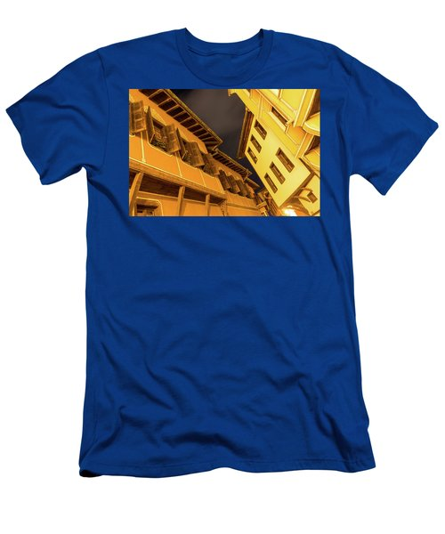 Golden Yellow Night - Chic Zigzags Of Oriel Windows And Serrated Roof Lines Men's T-Shirt (Athletic Fit)