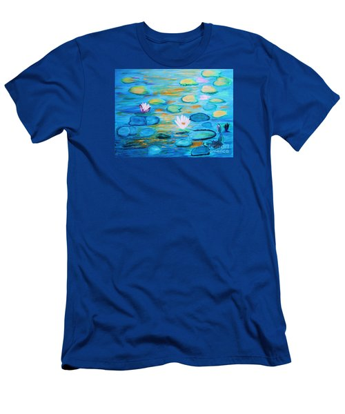 Men's T-Shirt (Slim Fit) featuring the painting Graceful Pond From The Water Series by Donna Dixon
