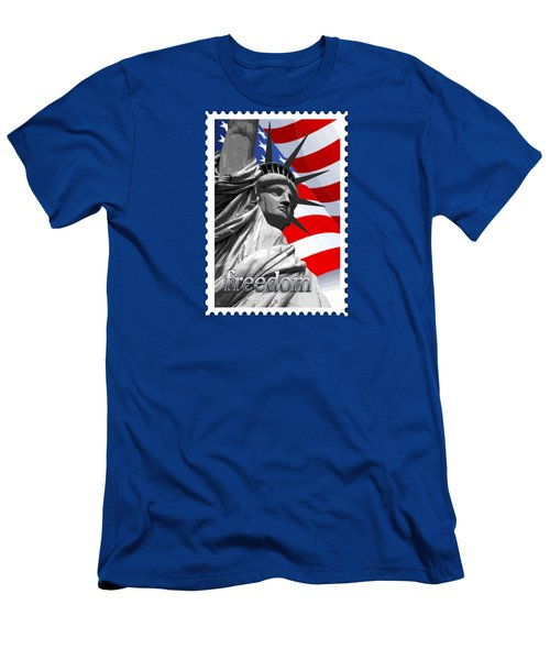 Graphic Statue Of Liberty With American Flag Text Freedom Men's T-Shirt (Slim Fit) by Elaine Plesser