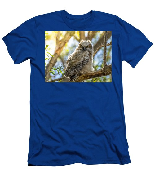 Great-horned Owlet In Spring Men's T-Shirt (Slim Fit) by Yeates Photography