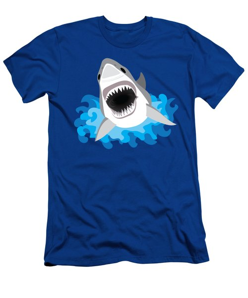 Great White Shark Leaps From Waves Men's T-Shirt (Slim Fit) by Antique Images