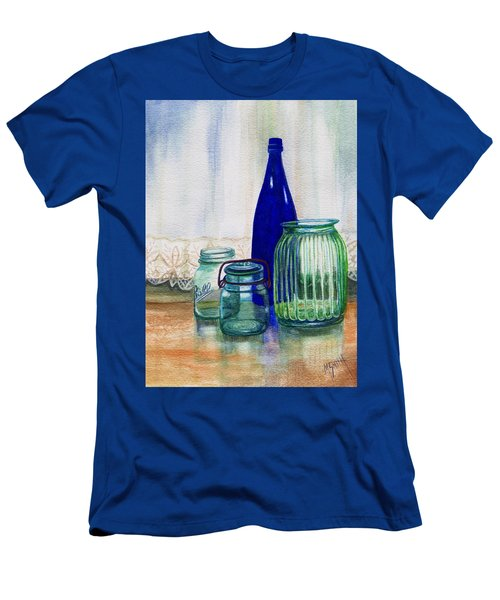 Men's T-Shirt (Slim Fit) featuring the painting Green Jars Still Life by Marilyn Smith