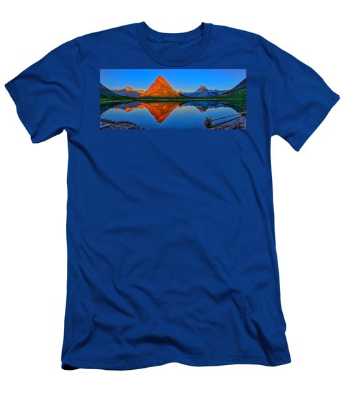 Grinnell Point Alpenglow Panorama Men's T-Shirt (Slim Fit) by Greg Norrell