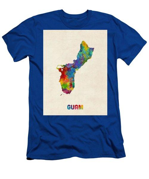 Guam Watercolor Map Men's T-Shirt (Athletic Fit)