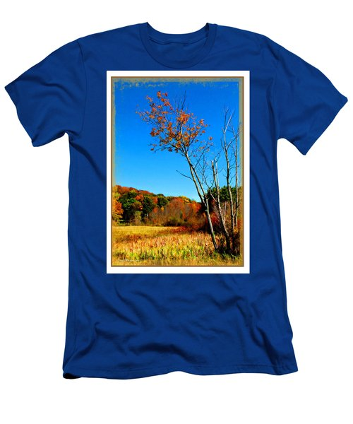 Men's T-Shirt (Slim Fit) featuring the photograph Hanging On To Autumn by Joan  Minchak