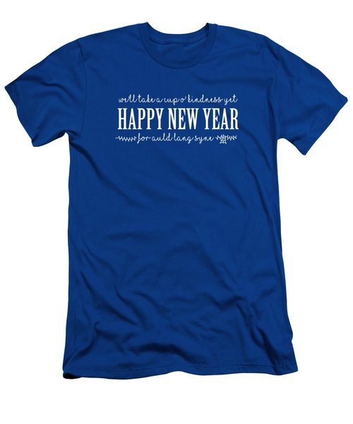 Men's T-Shirt (Athletic Fit) featuring the digital art Happy New Year Auld Lang Syne Lyrics by Heidi Hermes