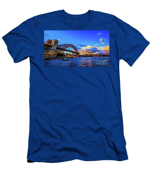 Men's T-Shirt (Slim Fit) featuring the photograph Harbor Bridge by Perry Webster