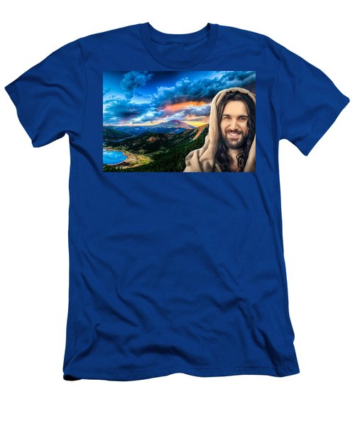 He Watches Over Me Men's T-Shirt (Slim Fit) by Karen Showell