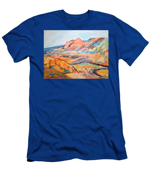 Hills Flowing Down To The Beach Men's T-Shirt (Slim Fit) by Esther Newman-Cohen