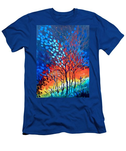 Men's T-Shirt (Slim Fit) featuring the painting Horizons by Linda Shackelford