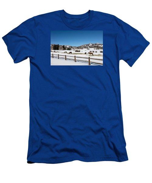 Horses On A Small Farm Near The Aspen Airport Men's T-Shirt (Slim Fit) by Carol M Highsmith