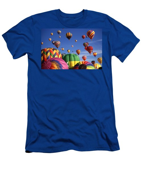 Beautiful Balloons On Blue Sky - Color Photo Men's T-Shirt (Athletic Fit)