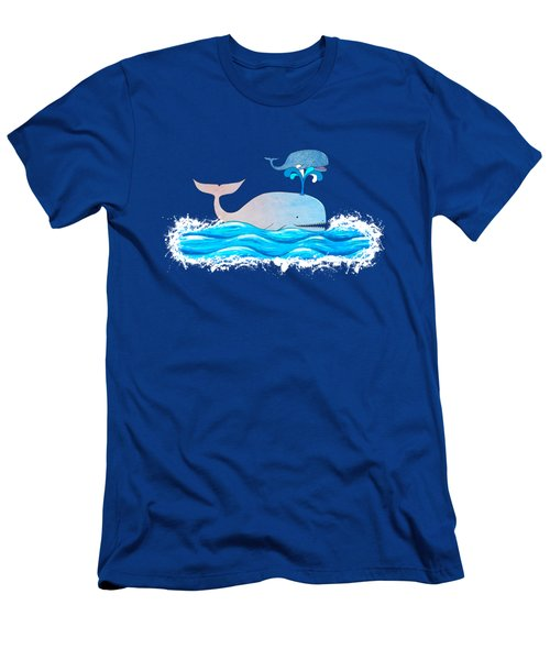 Men's T-Shirt (Slim Fit) featuring the mixed media How Whales Have Fun by Shawna Rowe