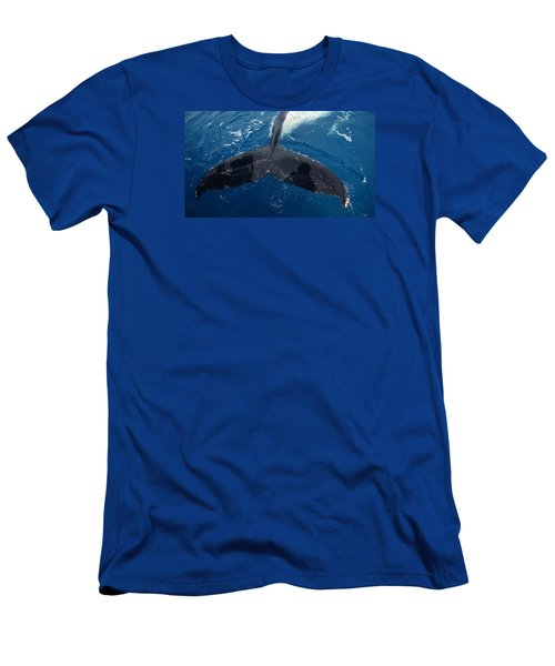 Men's T-Shirt (Slim Fit) featuring the photograph Humpback Whale Tail With Human Shadows by Gary Crockett