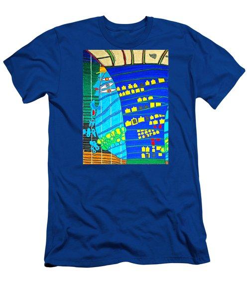 Hundertwasser Blue Moon Atlantis Escape To Outer Space Men's T-Shirt (Athletic Fit)