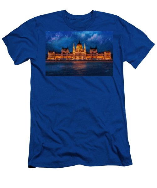 Hungarian Parliament At Night Men's T-Shirt (Athletic Fit)