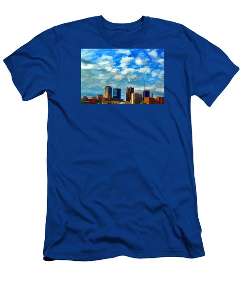 Huntsville Alabama Skyline Abstract Art Men's T-Shirt (Slim Fit) by Lesa Fine