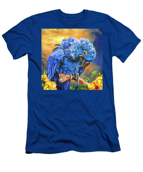 Men's T-Shirt (Athletic Fit) featuring the mixed media Hyacinth Macaw by Carol Cavalaris