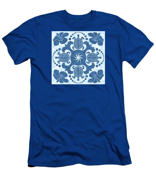 Hybiscus And Turtle Hawaiian Quilt Block Men's T-Shirt (Athletic Fit)
