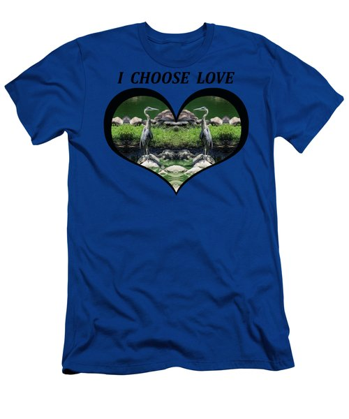 I Chose Love With A Heart Framing Blue Herons Men's T-Shirt (Athletic Fit)