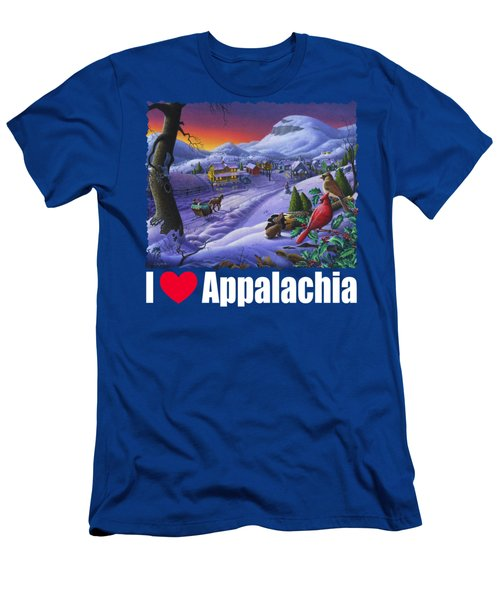 I Love Appalachia T Shirt - Small Town Winter Landscape 2 - Cardinals Men's T-Shirt (Athletic Fit)