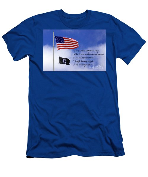 Men's T-Shirt (Slim Fit) featuring the photograph I Will Not Forget You American Flag Pow Mia Flag Art by Reid Callaway