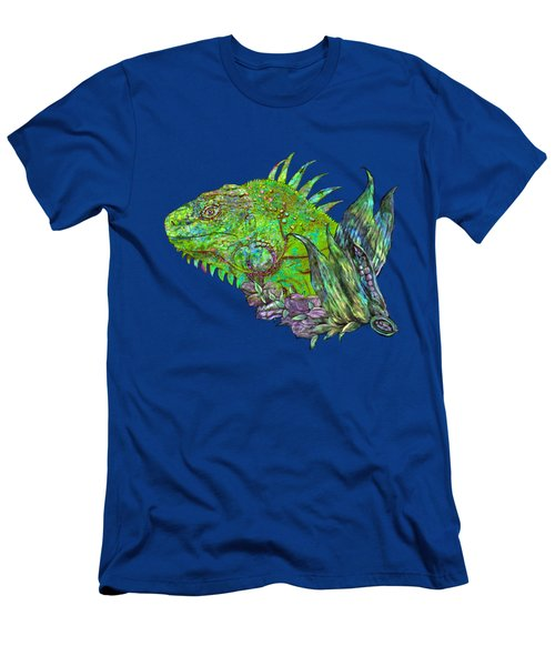 Men's T-Shirt (Slim Fit) featuring the mixed media Iguana Cool by Carol Cavalaris