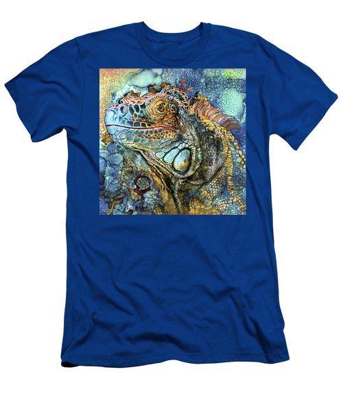 Men's T-Shirt (Athletic Fit) featuring the mixed media Iguana - Spirit Of Contentment by Carol Cavalaris