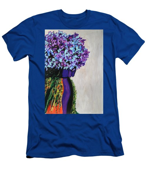 Indigo Flowers For Ma Men's T-Shirt (Slim Fit) by Esther Newman-Cohen