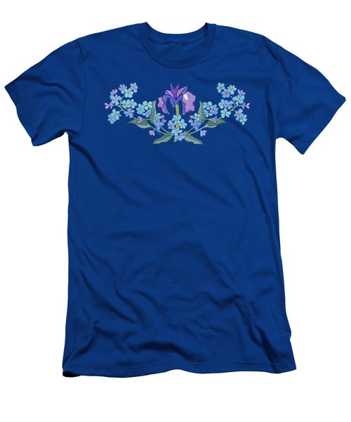 Iris And Forget Me Not Curved Garland Men's T-Shirt (Slim Fit) by Teresa Ascone