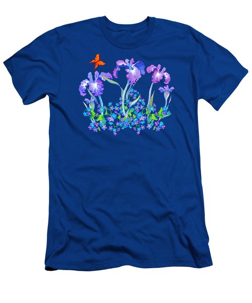 Iris Bouquet With Forget Me Nots Men's T-Shirt (Slim Fit) by Teresa Ascone