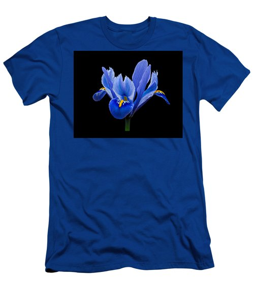 Men's T-Shirt (Slim Fit) featuring the photograph Iris Reticulata, Black Background by Paul Gulliver