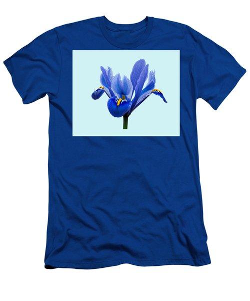 Iris Reticulata Blue Background Men's T-Shirt (Slim Fit) by Paul Gulliver