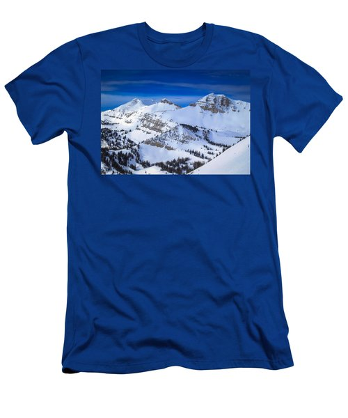 Jackson Hole, Wyoming Winter Men's T-Shirt (Slim Fit) by Serge Skiba