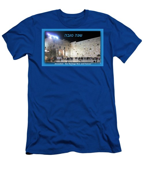 Jerusalem Western Wall Shana Tova Happy New Year Israel Men's T-Shirt (Athletic Fit)